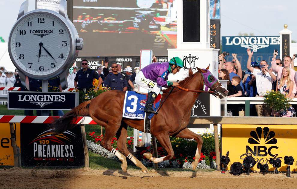 California Chrome prevails at the Preakness to keep Triple Crown hopes alive _lowres