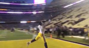 Watch: LSU players show off hands with one-handed grabs before game with Rice