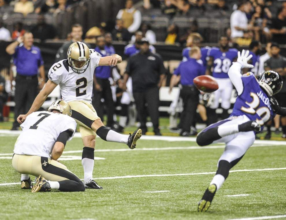Saints kicker Derek Dimke makes his case in battle with Shayne Graham _lowres