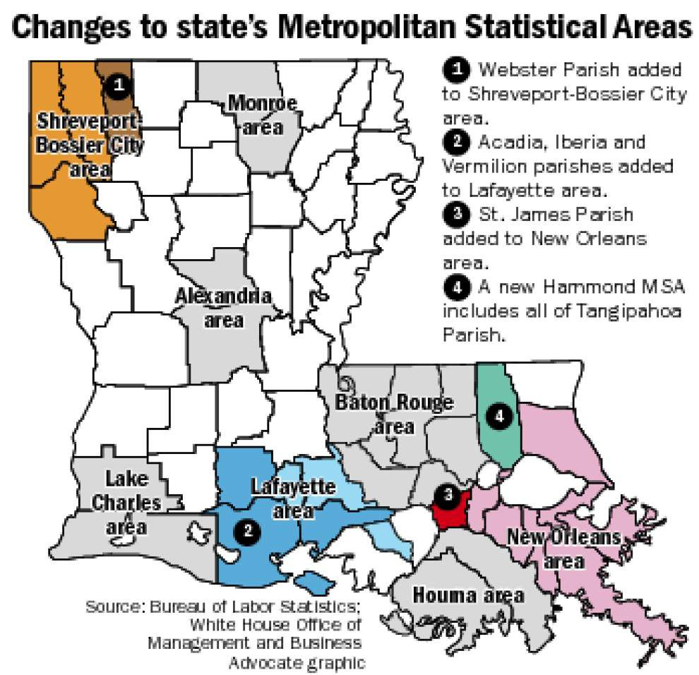 Lafayette, Orleans metros adding parishes; Hammond becomes a metro area _lowres