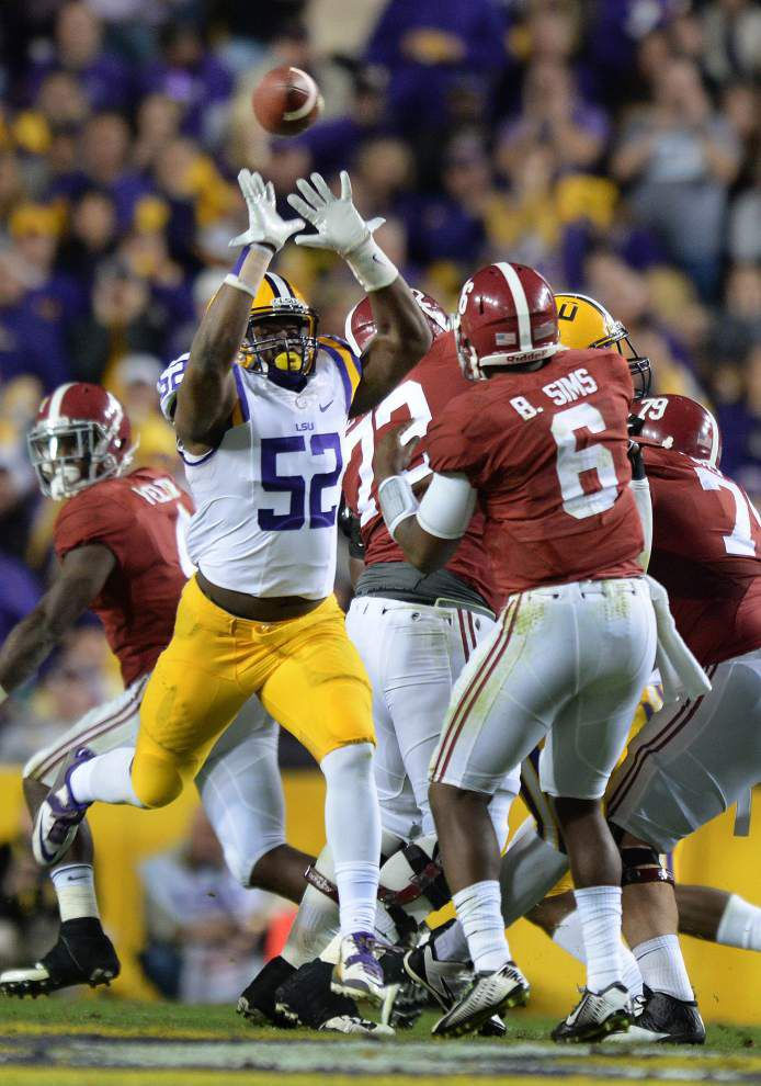 "LSU linebacker Kendell Beckwith says his hamstring is ""pretty sore,"" but he expects to play against Arkansas _lowres"
