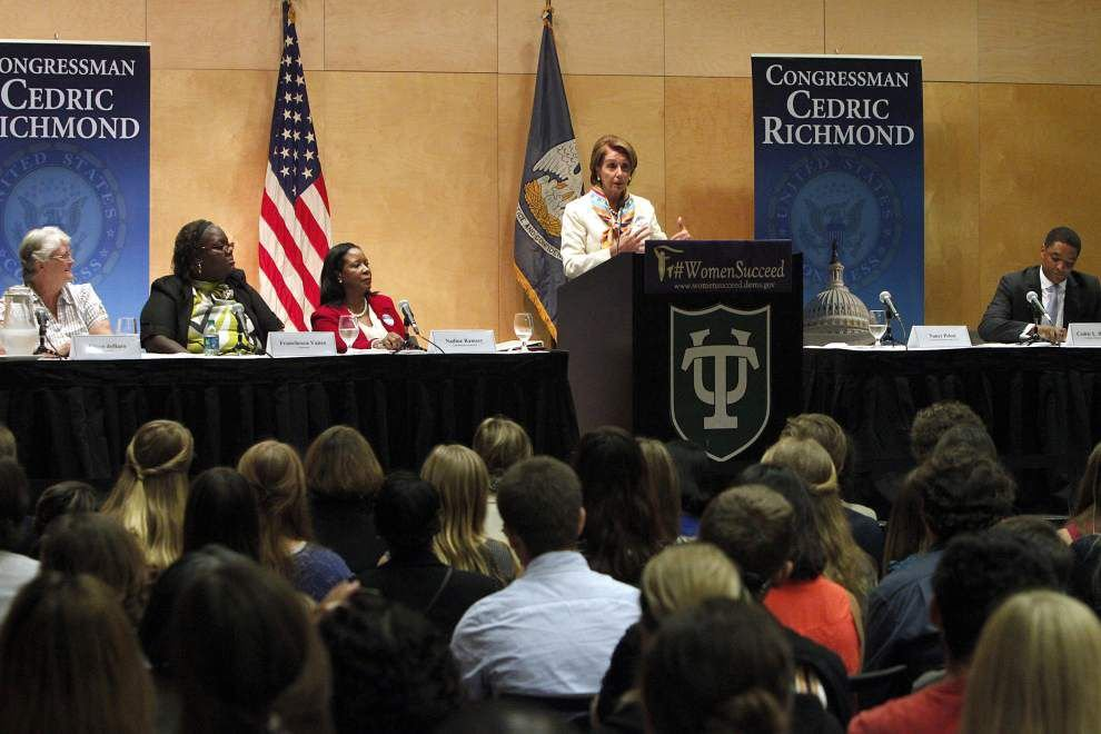 Tulane University forum: Pelosi urges women to fight for equal pay, better child care _lowres