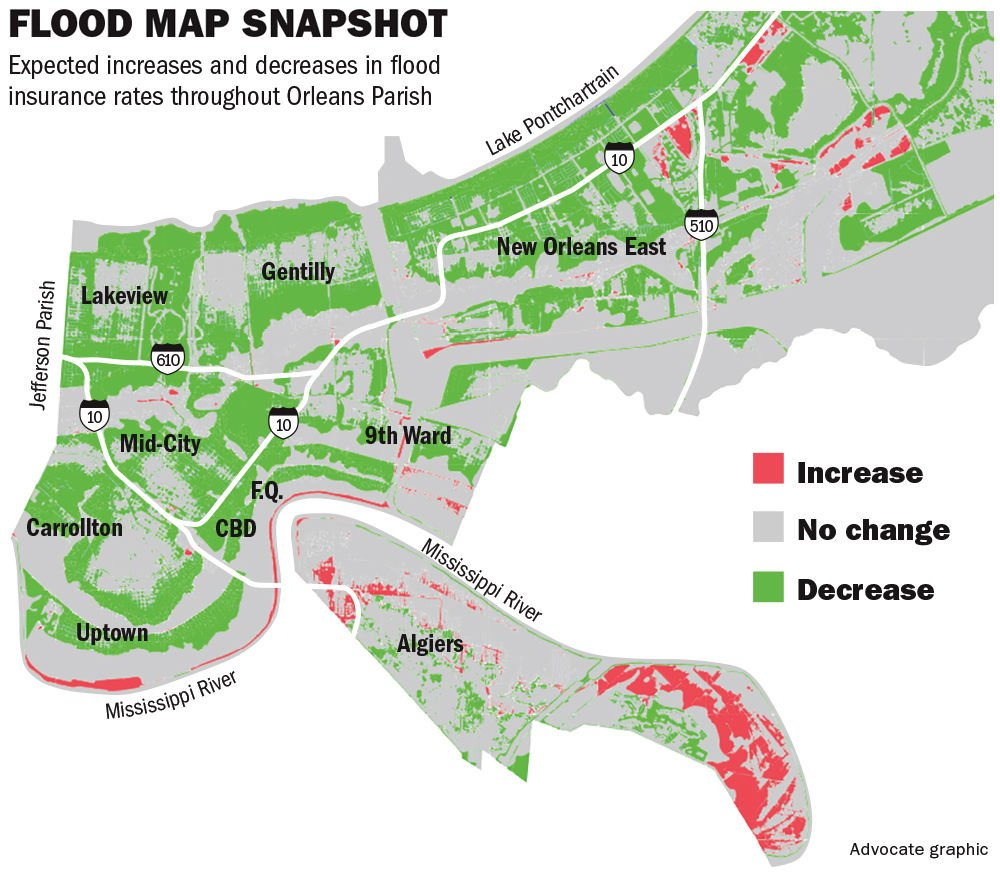 New Orleans Revised Flood Maps Set To Slash Insurance Rates For - Map new orleans wards