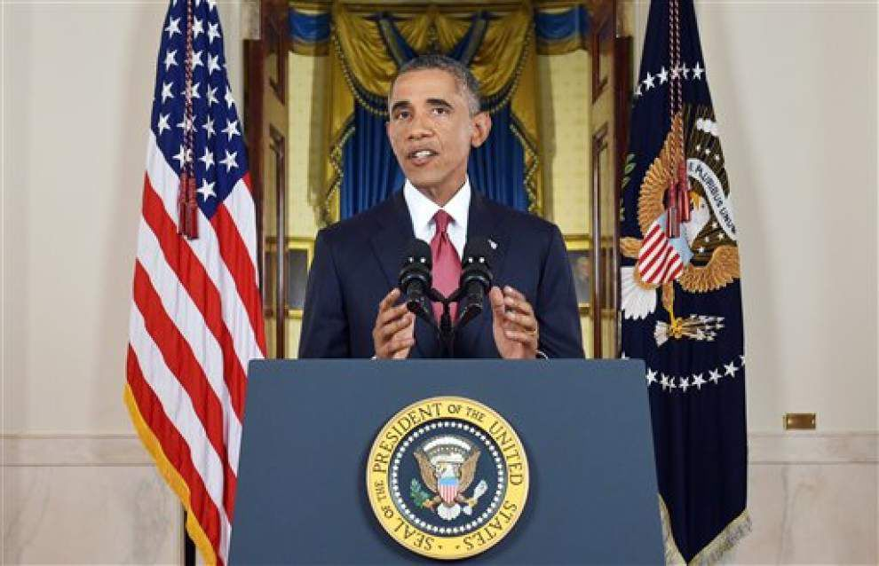 Obama: U.S.-Arab strikes show unity against militant _lowres