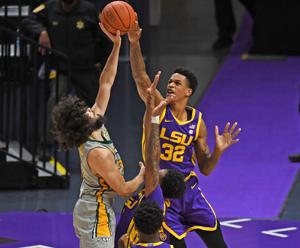 Shareef O'Neal, a 6-foot-10 forward, looms large in LSU's rebounding efforts going into Tech game