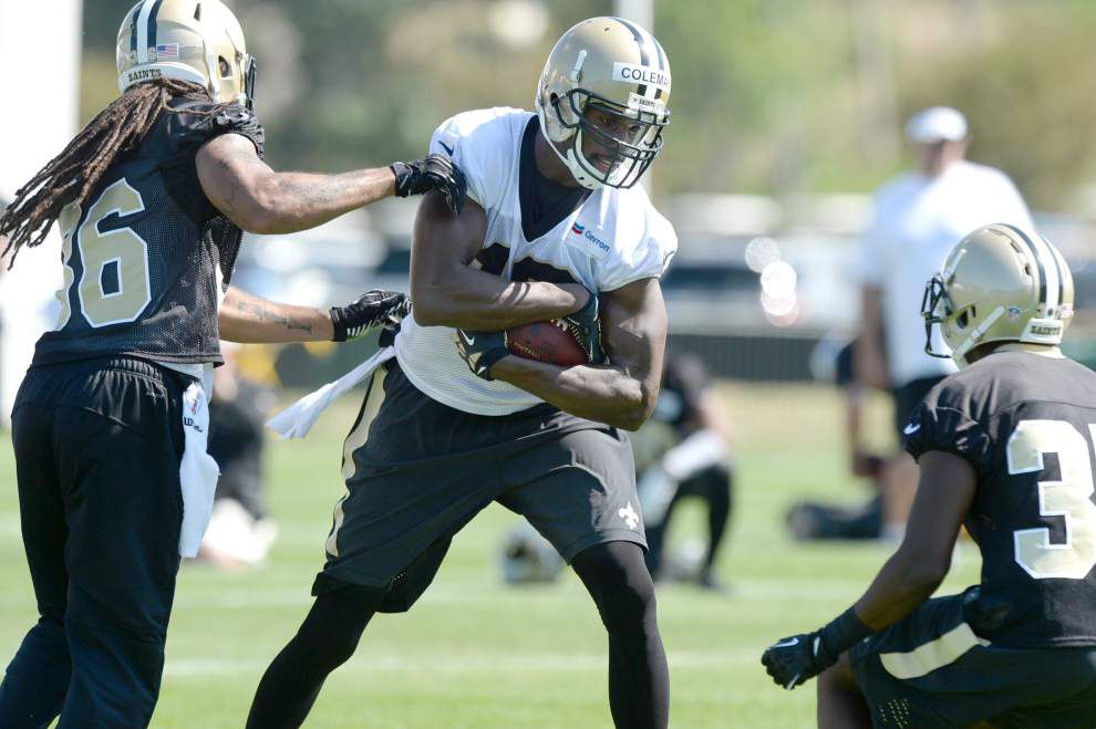 Brandon Coleman finding rhythm at Saints camp _lowres