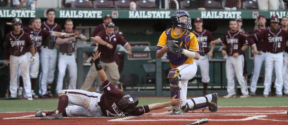 Video, photos: Runner who scored Mississippi State's game-winner vs. LSU might not have touched home plate _lowres