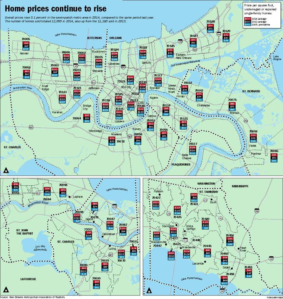 Home Prices Rise For Third Year In A Row In The New Orleans Area - Map new orleans wards