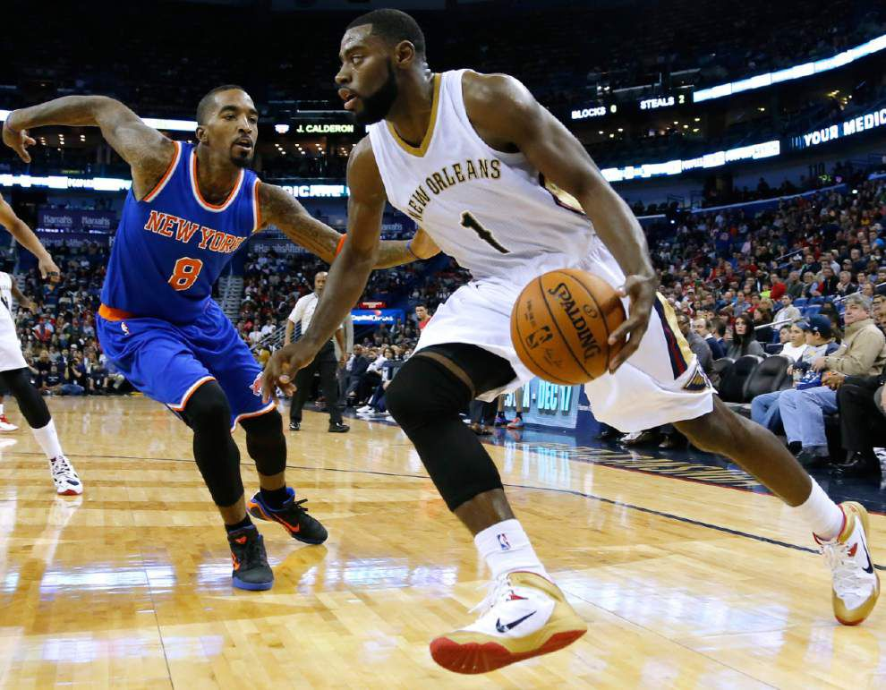 Video: Pelicans guard Tyreke Evans says the team tried to run and push the ball in its win against the New York Knicks _lowres