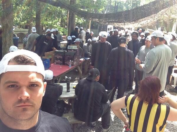 Saints take aim at each other, renew paintball tradition