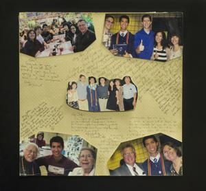 <p>A poster with personal notes and photos served as a surprise high school graduation gift.</p>