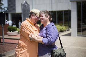 <p>Teresa and Dru Denae were the fourth same-sex couple to receive their marriage license in Brazos County</p>