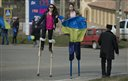 Crimean Tatar girls protest on stilts