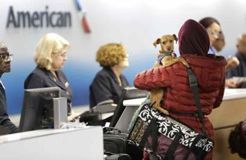 <p>A traveler holds a dog as she checks in at American Airlines at LaGuardia Airport in New York on Nov. 24. Whether it's by plane, rail or roadway, AAA estimates that 42 million people traveled somewhere for Thanksgiving. Tens of millions of Americans returning home after the long Thanksgiving holiday weekend Sunday have cooperative weather and mostly efficient airport operations to thank for smooth traveling conditions.</p>