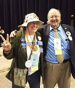 <p>Park County Democratic Party Chair Dennis Obduskey with Jeri Shepherd from Weld County, one of three elected members from Colorado to serve four-year terms on the Democratic National Committee. Obduskey co-chaired the state party platform April 16 in Loveland and this week was elected to serve on the national Platform Committee this July in Philadelphia. (Photo courtesy of Dennis Obduskey)</p>