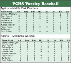 Platte Canyon baseball stats