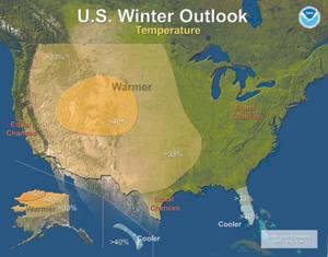 Warmer winter forecast