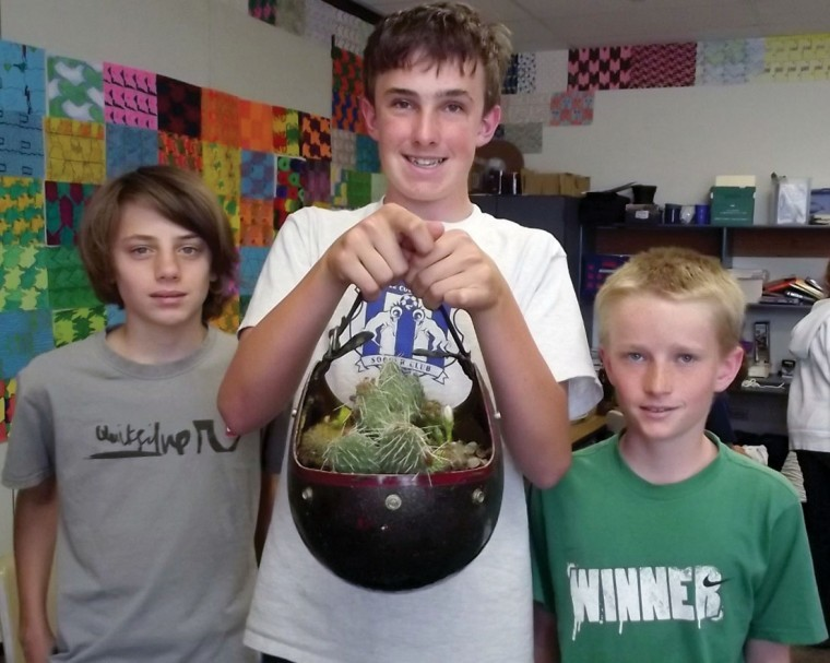 Middle school students prepare recycled project for Recycling projects for school