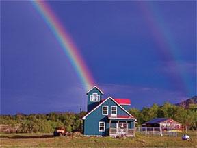 Rainbow on Blue House