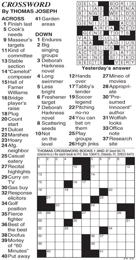 Versatile image for printable thomas joseph crossword puzzle for today