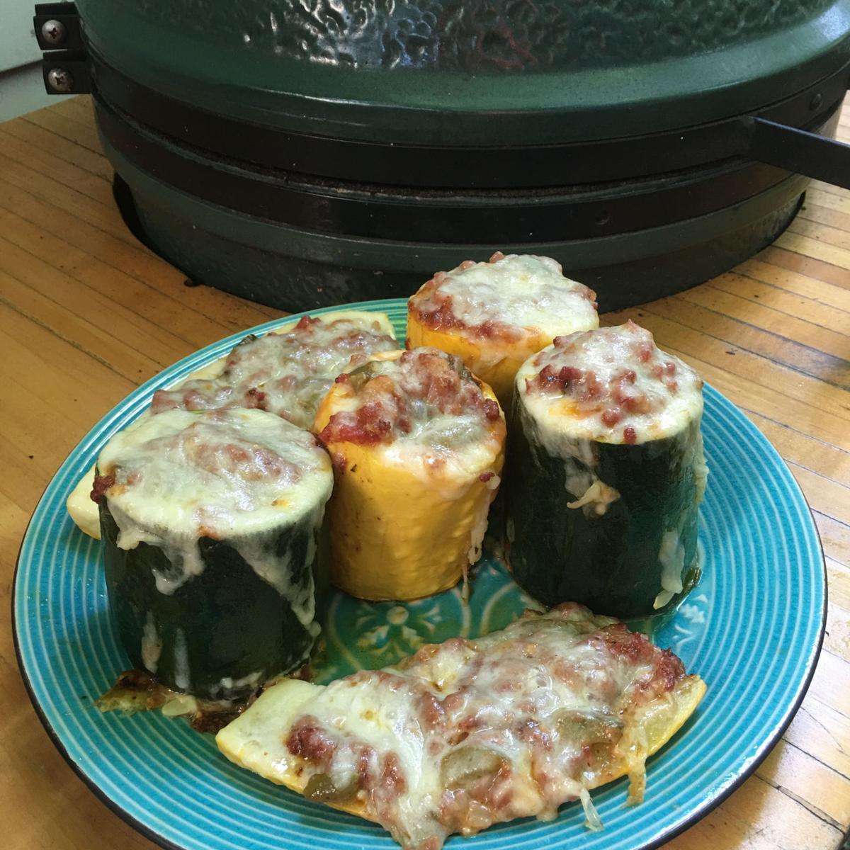 """... meat, tomato and """"Mozzarella Stuffed Squash Boats and Cups"""" recipe"""
