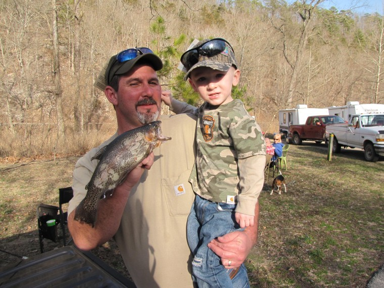 Waylon Powell, 2, came to his first opening day of trout season
