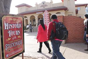 International students round up at stockyards