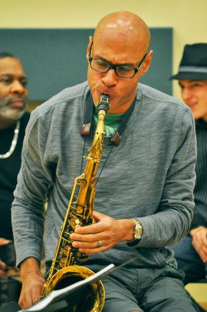 <p>Jazz artist Joshua Redman rehearsing with the WSU Big Band.</p>