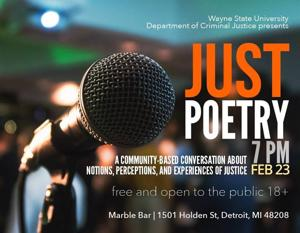 Criminal justice department to host 'Just Poetry' event