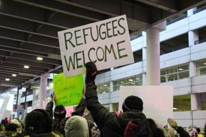 Protests over immigration ban at DTW