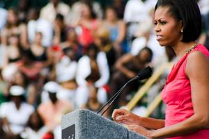 Michelle Obama to students: 'fight the odds, never give up'