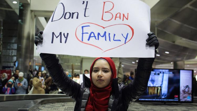 Protestors gathered at Detroit Metropolitan Airport to march against President Trump's executive order to ban immigrants from several Middle Eastern countries.