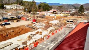<p>A year ago, a road contractor used a pile driver in front of Southwestern Community College's Balsam Center. It's not clear if vibrations caused building damage.</p>