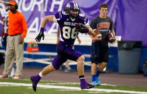 <p>UNA tight end Hagan Scott scores on a 48-yard touchdown pass from Jacob Tucker against Langston University in the first half at Braly Stadium on Saturday evening.</p>