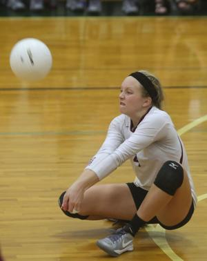 <p>Deshler's Cassidy Russell hits the volleyball Saturday during a game in Tuscumbia. Deshler played Muscle Shoals for the final in the Colbert County Tournament.</p>