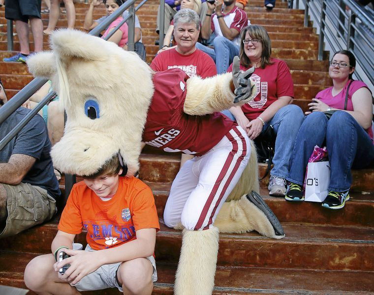 Ou sports extra ou sports sooners fire mascot for unsportsmanlike