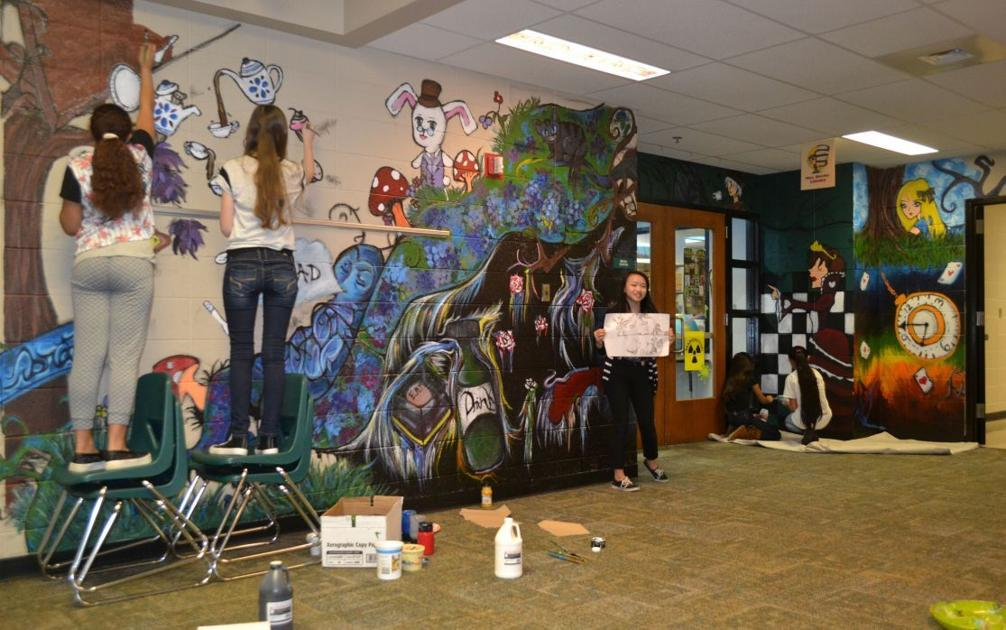 Sixth graders paint alice in wonderland mural tulsa for Alice in wonderland mural