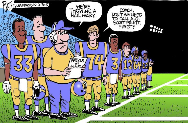 bruce plante cartoon prayer at high school football games