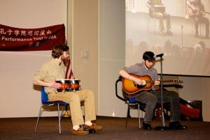 Some UMB students get in on the action on stage.