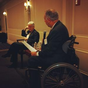 McCarthy was interviewed on stage and also took questions from students and alumni at the breakfast