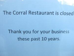 Corral Closes - sign on door