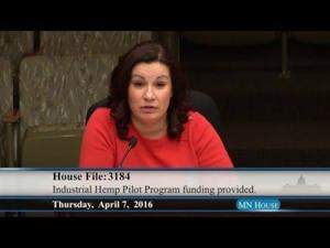 Agriculture finance committee hears HF3184, a bill to fund industrial hemp program 4/7/16
