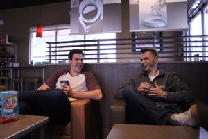 <p>Keith Gavin, Sophomore, Sales and Business Marketing major and Mike Moynahan, Junior, Finance major share a coffee in honor of being single on Valentines Day.</p>