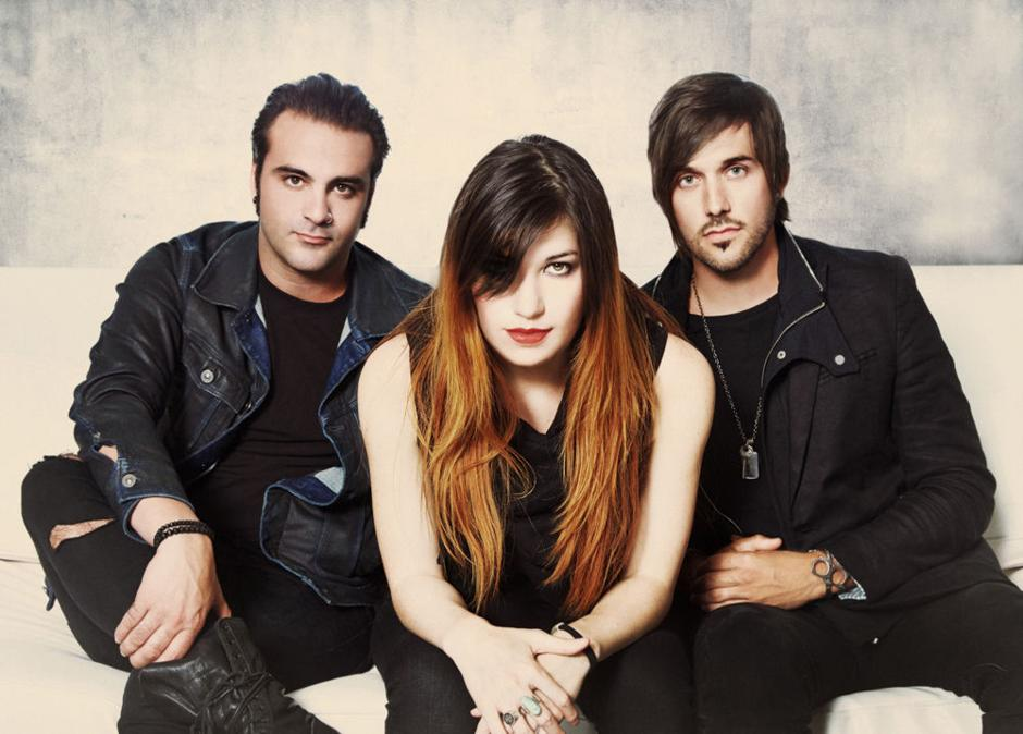 From left: Drummer Mark Goodwin, co-founder and bassist Emma Anzai and new frontman singer-guitarist Bryan Scott of Sick Puppies