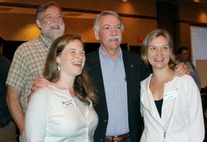 <p>Morgan Sommerville, director of the Appalachian Trail Southern Region, left, and Jon Jarvis, director of the National Parks Service speak with Leanna Joyner and Julie Judkins, both with the Appalachian Trail Conservancy.</p><p>On Sunday, Jarvis spoke at the opening session of the 15th National Historic and Scenic Trails Conference held at the Embassy Suites in Cool Springs.</p>
