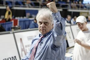 <p>Brentwood Bruins head coach Dennis King saluted the support of the Brentwood student section as he left the floor following a 53-44 Class AAA semifinal victory over Memphis East in March. King and the Bruins finished as runners-up this past season in Class AAA.</p>