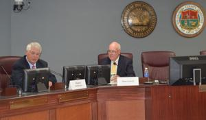 <p>Williamson County Mayor Rogers Anderson and Williamson County Chamber moderator for the event Friday Dave Crouch.</p>