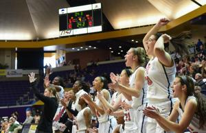 <p>The Brentwood Academy bench reacts in the closing seconds during the Lady Eagles 63-41 win over Briarcrest Christian School Saturday, Feb. 28, 2015 at Lipscomb's Allen Arena in the Division II-AA state championship.</p>