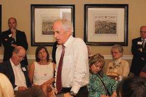 <p>Sen. Bob Corker (R-Chattanooga) talks seriously about the economy and national security during a Town Hall meeting Tuesday for members of the Williamson County Republican Party at Westhaven.</p>