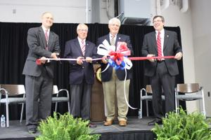 <p>Williamson County Emergency Management Director Mac Purdy, County Sheriff Jeff Long, County Mayor Rogers Anderson, and County Public Safety Director Bill Jorgensen cut the ribbon for the new Public Safety Center state-of-the-art facility Saturday.</p>